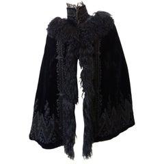 1890s Victorian Era Silk Velvet Fur Cape