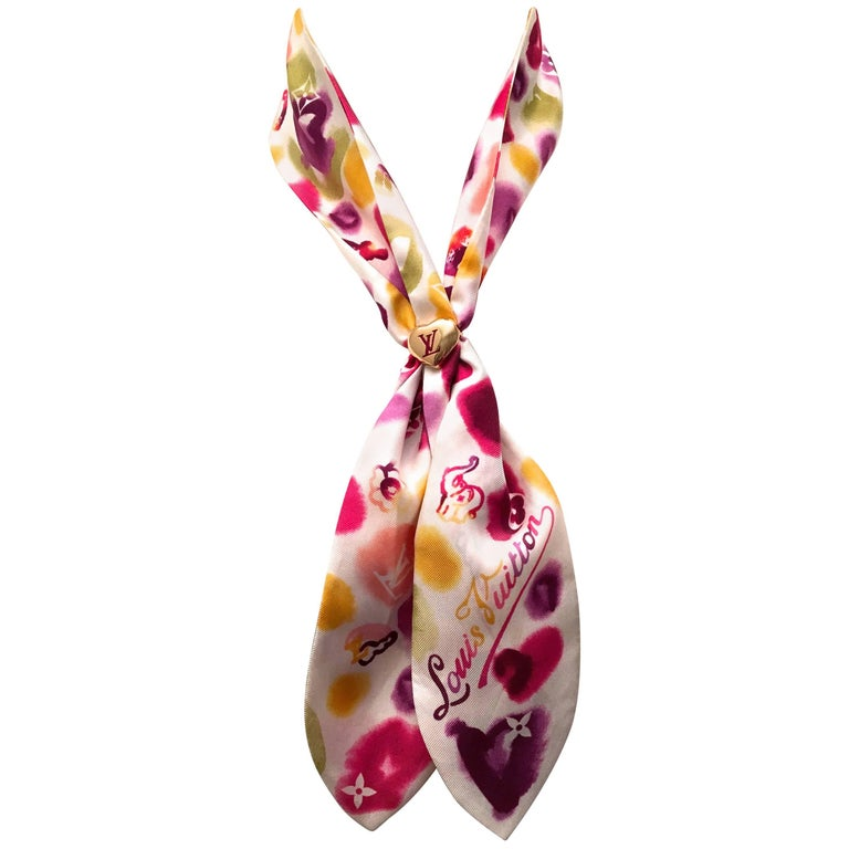 Louis Vuitton Silk Scarf with Gold Tone Scarf Ring