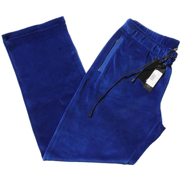 New Versace Medusa Logo Men's Blue Velvet Sweatpants Black Leather Trim size XL