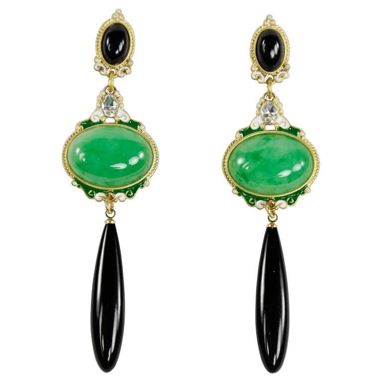 Fabulous Faux Jade Onyx Faux Diamond Enamel Dangle Earrings For Sale