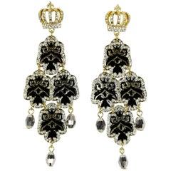 Beautiful Faux Diamond Crown Dangle Runway Earrings