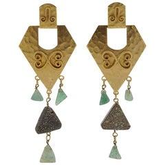 Hobe Gold Tone Swirl and Green Grey Stone Drop Earrings