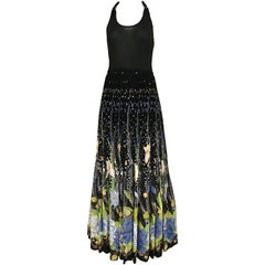1970s Black Halter Floral Print Maxi Dress