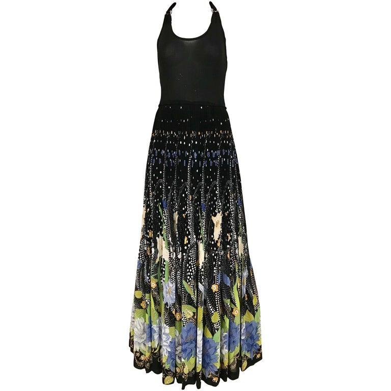 1970s Black Halter Floral Print Maxi Dress