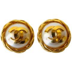 1990s Chanel Pearl Button Logo Earrings