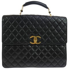Chanel Black Lamb Travel Top Handle Satchel Briefcase Bag