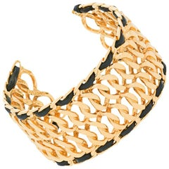 NEWFOUND LUXURY-Chanel New Gold Chain Leather Evening Bangle Bracelet Cuff W/Box