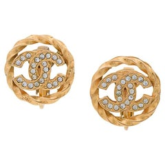 Chanel Gold Chain Braid Rhinestone Stud Evening Earrings with Box
