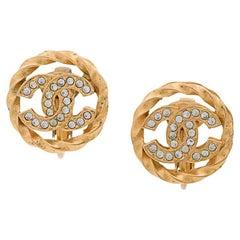NEWFOUND LUXURY - Chanel Gold Chain Braid Rhinestone Stud Evening Earrings W/Box