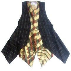 Zandra Rhodes Avant Garde Black & Gold Pinstriped Vest c 1990s