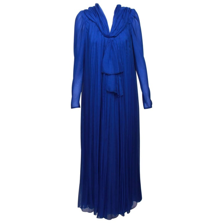 YVES SAINT LAURENT 1970s  Couture Hooded Evening Gown