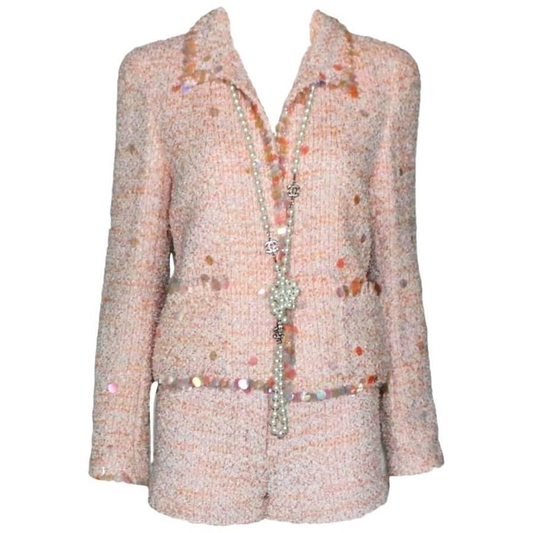 Stunning Chanel Fantasy Tweed Sequins Hot Pants Shorts Suit with CC Logo Buttons