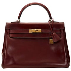 1970's Hermes Rouge H Box Calf Leather Vintage Kelly 32cm Retourne