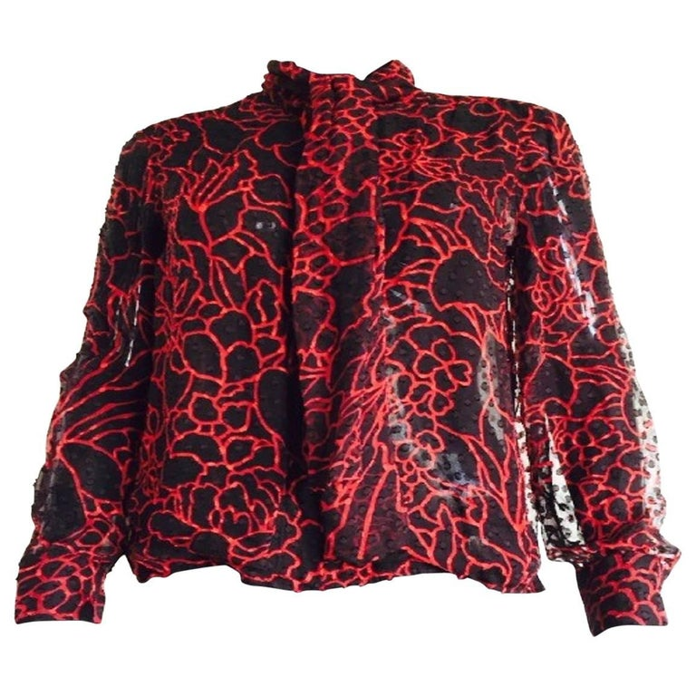 Chanel black and red silk blouse
