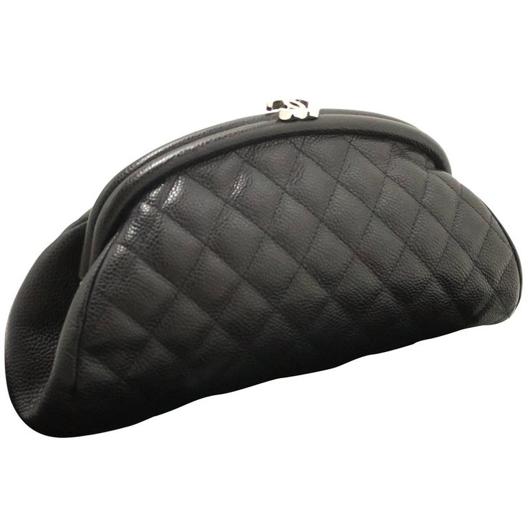 c00ee189a5a5 CHANEL Caviar Clutch Bag Black Quilted Silver Hardware Leather For Sale