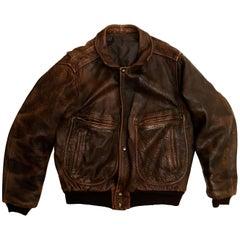 Men's Vintage Leather Indiana Jones Bomber Jacket, 1980s