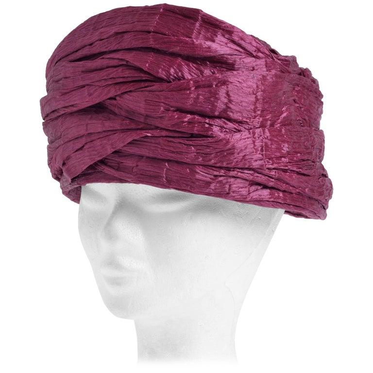 1960s Christian Dior Burgundy Rose Hat