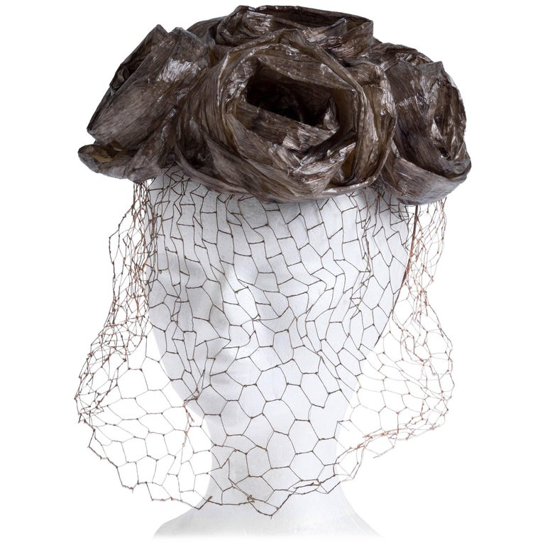1960s CHRISTIAN DIOR Straw Fascinator Hat