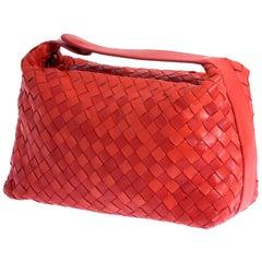 """Bottega Veneta Red """"Intrecciato"""" Nappa Woven Leather Make-up Bag Clutch"""