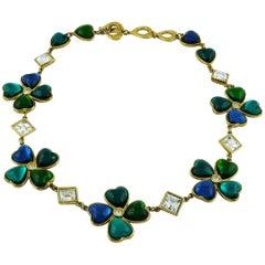 Yves Saint Laurent YSL Vintage Jewelled Clover Necklace