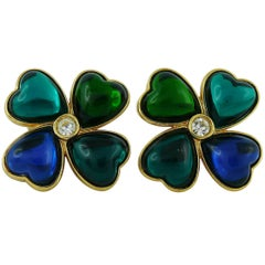 Yves Saint Laurent YSL Vintage Clover Clip-On Earrings