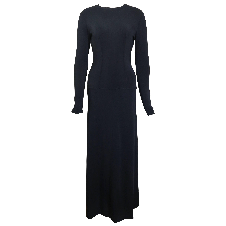 Alaia Black Long Sleeves BodyCon Maxi Dress