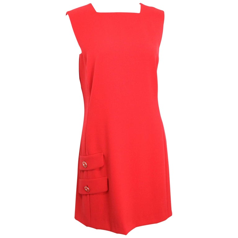 Gianni Versace Red Medusa Wool Sleeveless Dress  For Sale
