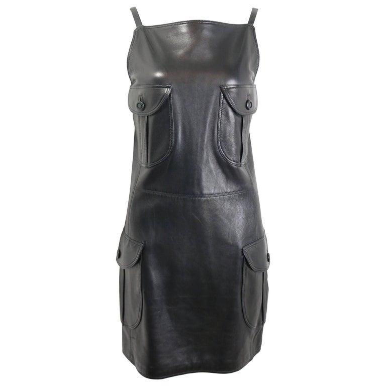 Gianni Versace Black Lambskin Leather Medusa Sleeveless Dress