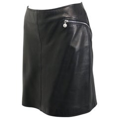 Vintage 90s Gianni Versace Black Lambskin Leather Skirt
