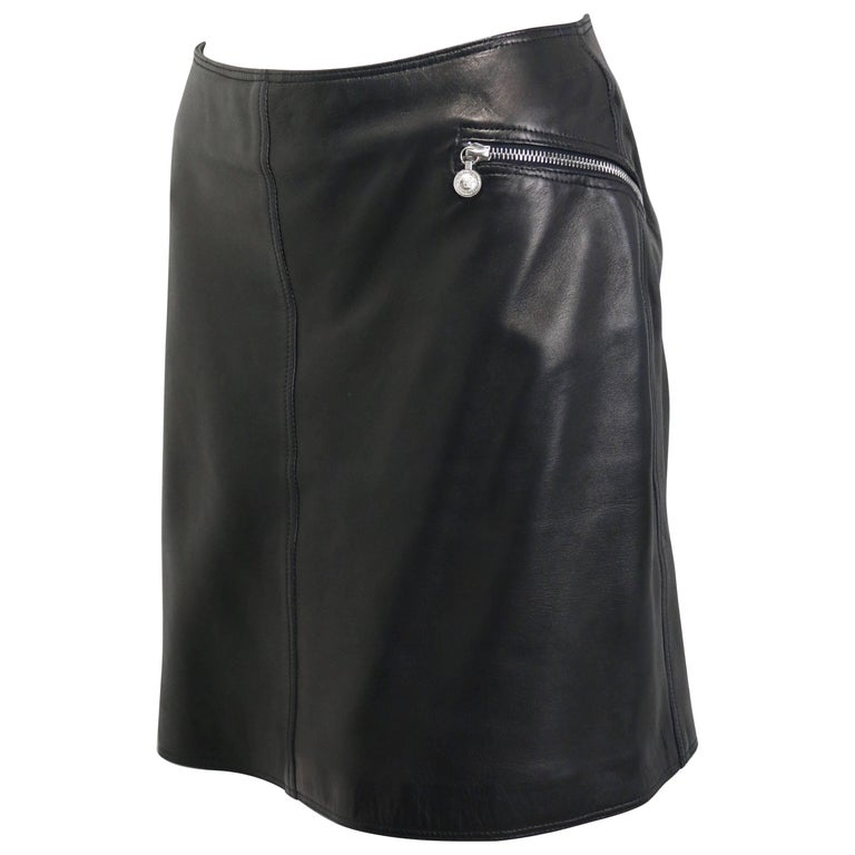 Gianni Versace Black Lambskin Leather Skirt