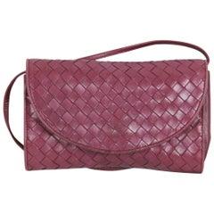 BOTTEGA VENETA Vintage Purple INTRECCIATO Leather SMALL MESSENGER BAG