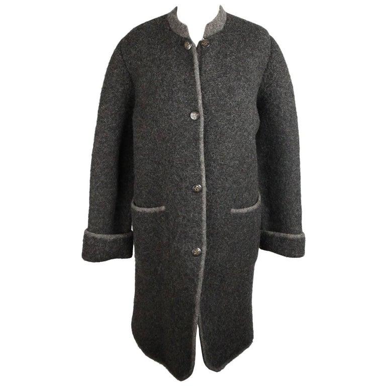 Hermes Paris Vintage Gray Pure New Wool Coat Size M