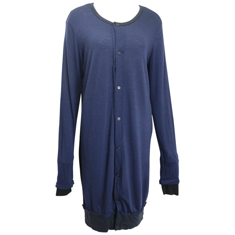Y's by Yohji Yamamoto Dark Navy Wool Long Sweater/Dress