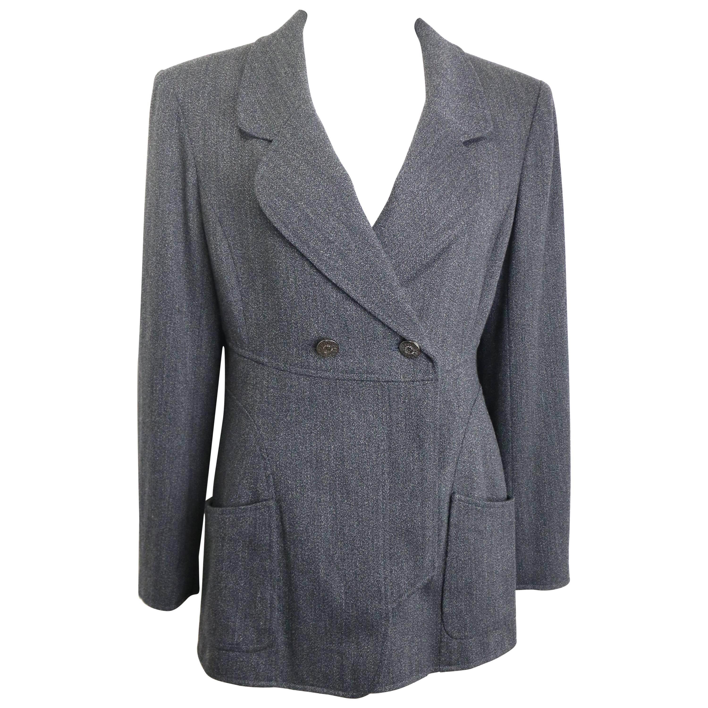 Vintage Fall 1997 Chanel Grey Wool Double Breasted Jacket
