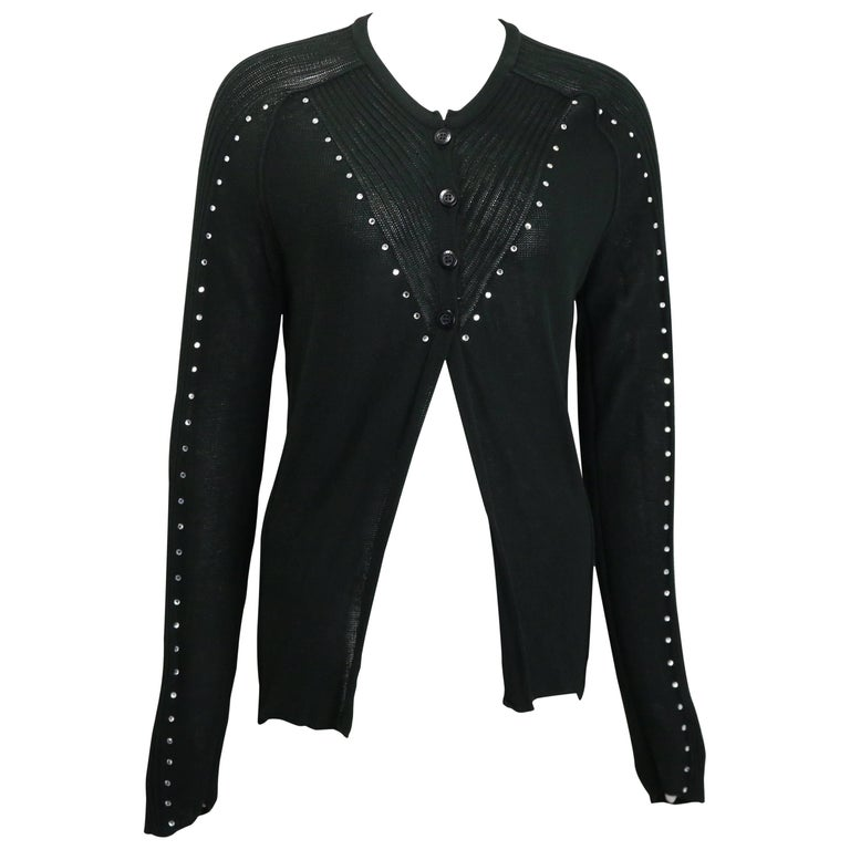 Sonia Rykiel Black Cotton Knitted Long Sleeves Cardigan with Rhinestones  For Sale