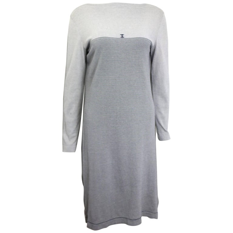 Chanel Black and White Stripe Cotton Long Sleeves Dress For Sale