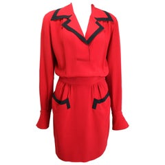 90s Moschino Couture Red Piping Black Trim Long Sleeves Dress