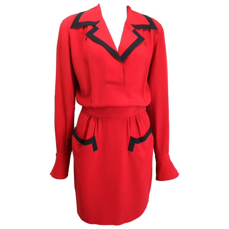 Moschino Couture Red Piping Black Trim Long Sleeves Dress