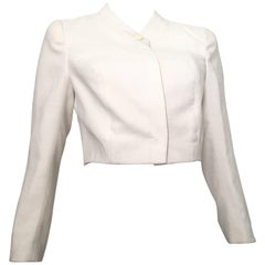 Louis Feraud by Andre Peters White Nubby Silk Cropped Jacket Size 6.