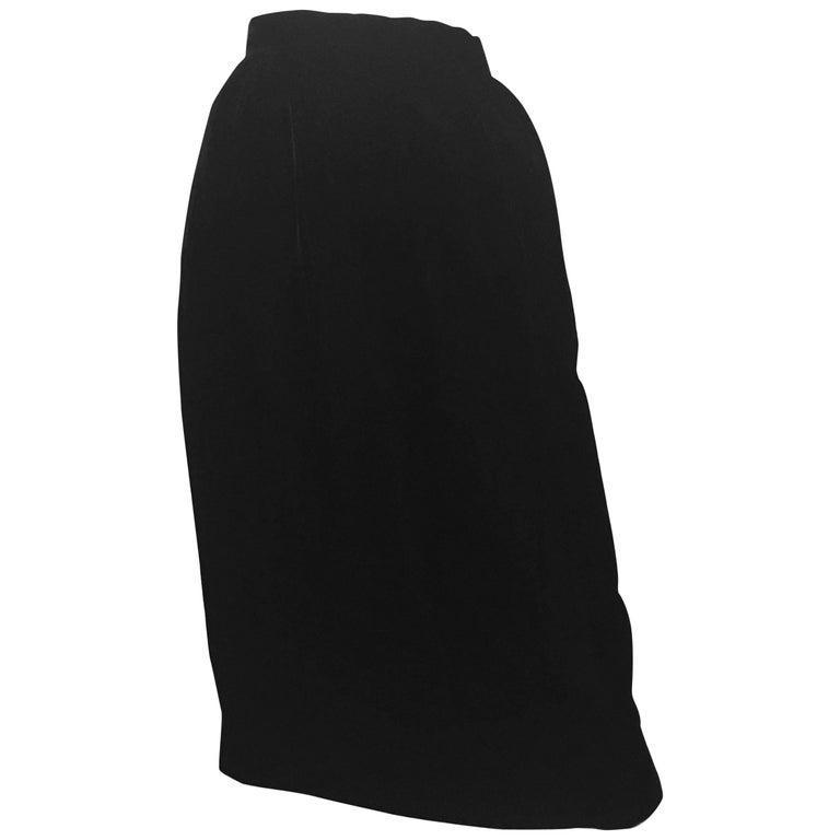Oscar de la Renta 1980s Black Velvet Long Skirt Size 6. Never Worn.