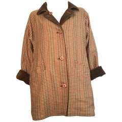 Bill Blass 1970s Reversible Plaid & Corduroy Coat / Dress with Pockets Size 12.