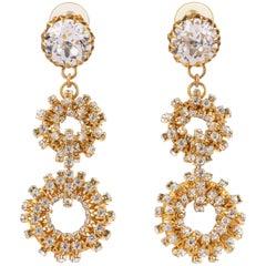 c.1960's Large Gold Crystal Rhinestone Double Hoop Dangle Statement Earrings