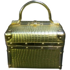 Borsa Bella Italy Gold Metallic Embossed Box Purse c 1980s