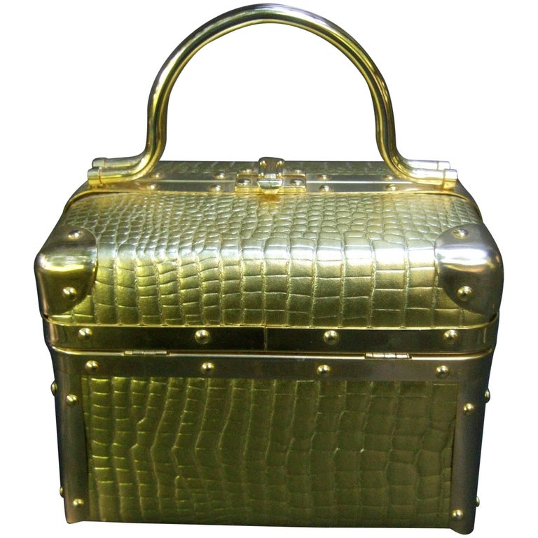 Borsa Bella Italy Gold Metallic Embossed Box Purse c 1980s For Sale