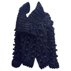 Christian Dior Haute Couture Navy Synthetic Cardigan with Braided Detail