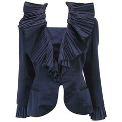 Christian Dior Blue Satin Evening Jacket with Large Pleated Collar