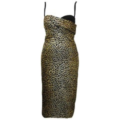 Dolce & Gabbana Leopard Print BodyCon Cocktail Dress with Bra Top