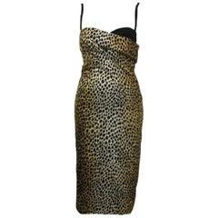 Dolce & Gabbana Leopard Print BodyCon Cocktail Dress with Bra Top