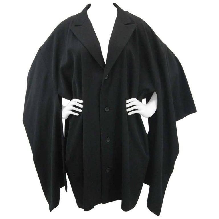 Yohji Yamamoto Vintage Black Wool Kimono Coat For Sale