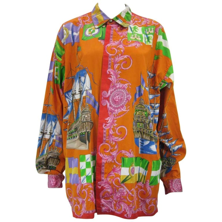 Gianni Versace Printed Sailboat Suns Motif Shirt For Sale